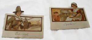 2-Antique-Die-Cuts-Pilgrim-Placards-Thanksgiving-Pilgrim-Ephemera