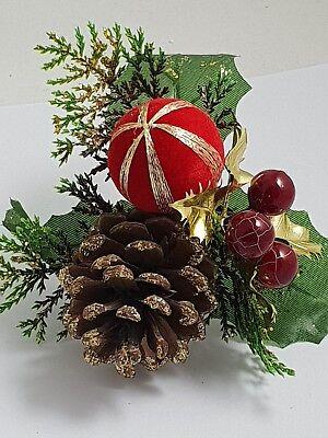 3 x pine cone christmas pick wreath making