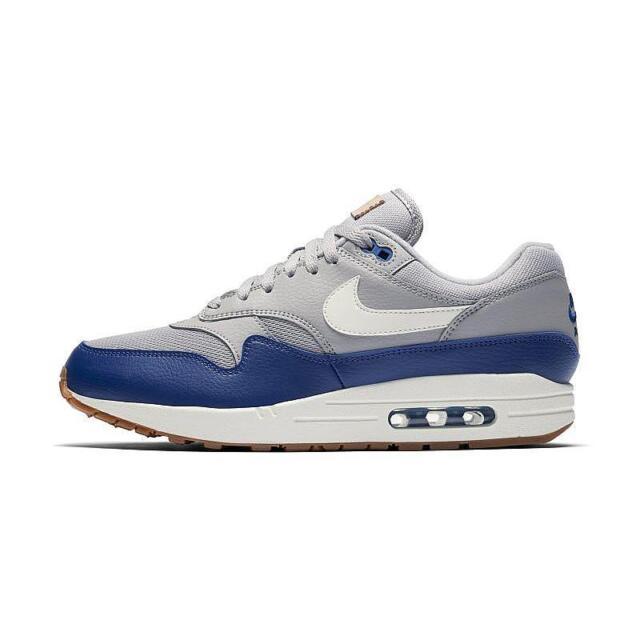 the best attitude f6320 df0df Nike Air Max 1 Atmosphere Grey Deep Royal Blue White Gum AH8145-008 Multi  Size