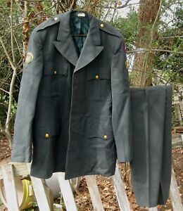 Vtg US ARMY 3rd Army Specialist E5 Green Uniform Coat Jacket 43L with 36L Pants