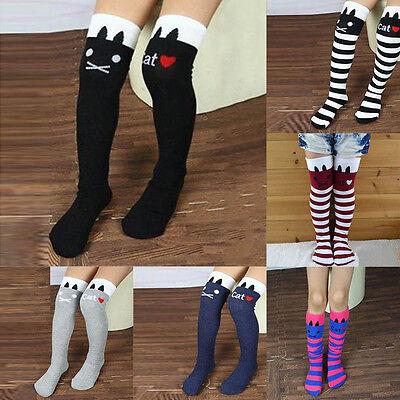 Toddlers Kids Girls Knee High Socks School Cotton Socks Tights Striped Stockings