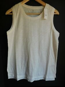 NWT-Gap-Women-039-s-Easy-White-Tank-Top-Side-Hem-Vents-Sizes-XS-S-M-L-New