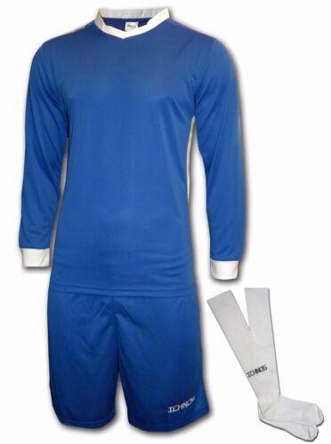 15 Joueurs 1 GK Haut Ichnos Bleu Adulte MATCH JOUR Team Kit Football Shirts