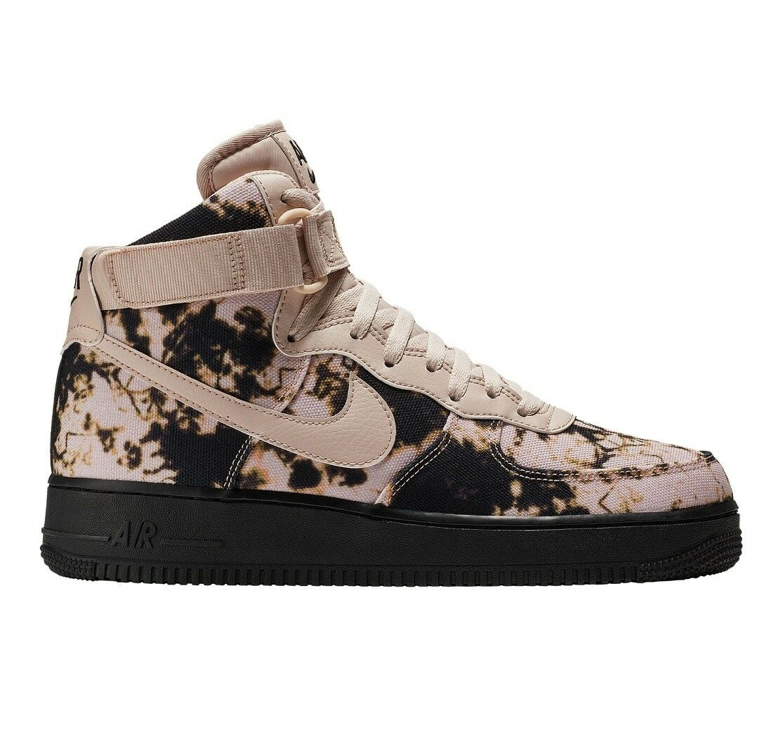 Nike Air Force 1 High Print Acid Wash Mens AR1954-001 Beige Black Shoes Sz 10.5