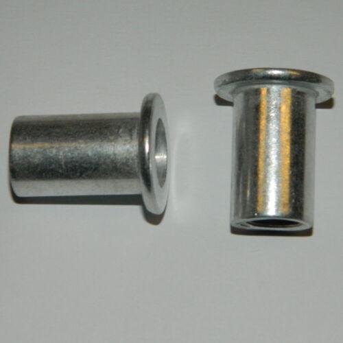 50 Stk Einnietmuttern M8 ALU Flachkopf  glatt 0,5-3mm Nietmuttern