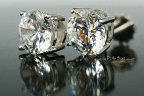 Studs Earrings round cut pierced solid Genuine real 14K white real gold 4 carat