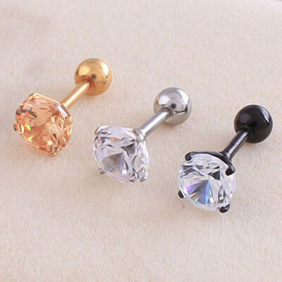 PAIR 316L Titanium steel Four Claw Zircon Stud Earring Prevent allergy EH0228