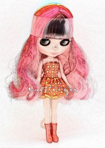 """Takara 12/"""" Neo Blythe Neat bang rainbow mixed  Factory Nude doll for Custom Use"""