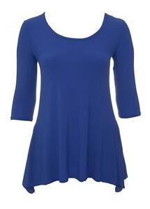 Womens-Size-14-24-Blue-Stretch-2-Point-Hem-Tunic-Top-3-4-Sleeve-Bnwt-Ladies