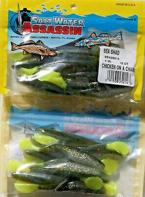 """Saltwater Bass Assassin 4/"""" Électrique Poulet Curly Shad Free USA livraison.."""