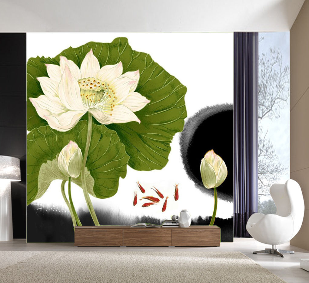 3D Lotus, lotus leaf 437 Wall Paper Print Wall Decal Deco Indoor Wall Murals