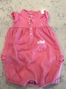 RALPH LAUREN baby girl white bubble ROMPER pink ruffles 6//9M cotton pique