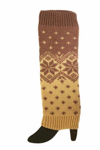 LIGHT GREY /& BEIGE WITH SNOW FLAKE DESIGN LEG WARMER LEGGINGS ..NEW