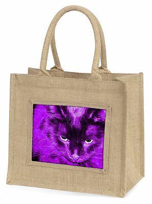 schwarz Katze in rosa violett Nachtlichter Große natürliche jute-einkaufstasche,