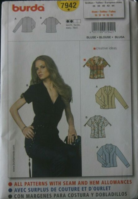 Burda 6614 SEWING PATTERN Misses/' Plus Size Semi-fitted Blouse Easy Size 18-30