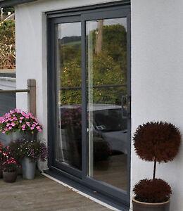 Upvc Sliding Patio Doors >> Details About Grey Upvc Sliding Patio Door 1700mm 1799mm Wide