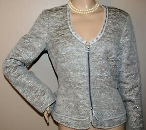 Banana Republic Silver Gray Metallic Boucle Jacket Size 10 Italian Fabric Peplum