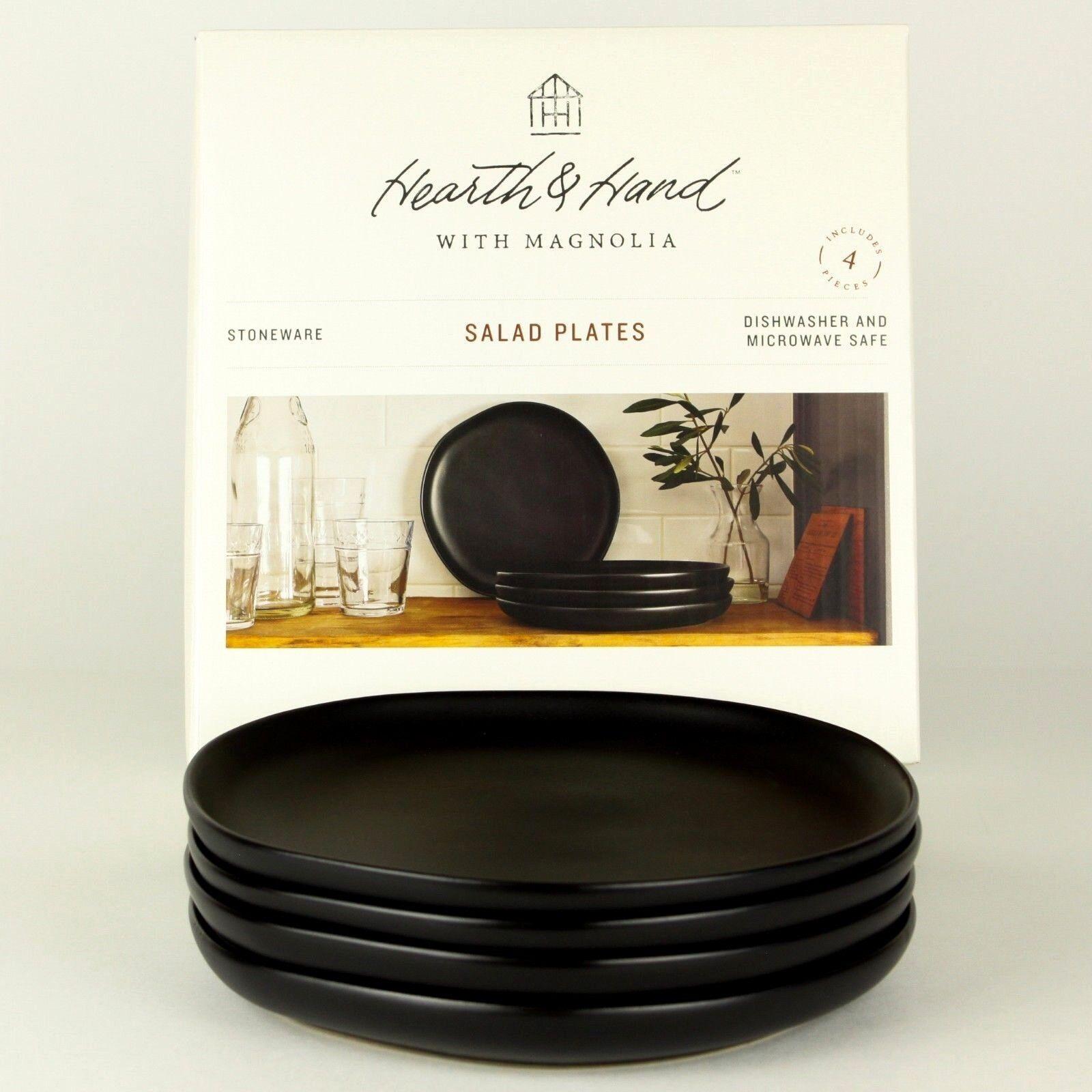 Lot de 4-Foyer et de la main Magnolia-noir mat en grès 8 pouces assiettes à salade