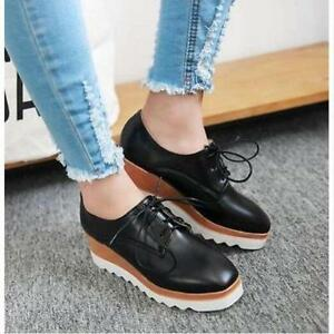Womens Fashion Solid Wedge Mid Heels Platform Lace up Brogue Oxford Punk Shoes 6