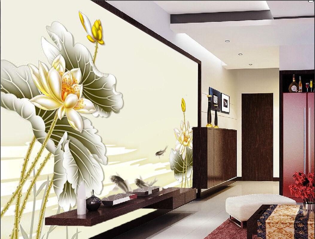 3D Golden Lotus Fish 8 Wall Paper Murals Wall Print Wall Wallpaper Mural AU Kyra