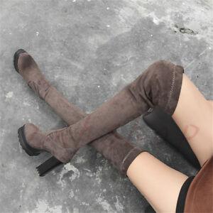 Schick-Platform-Damen-Overkneestiefel-Faux-Wildleder-Blockabsatz-Winter-Boots