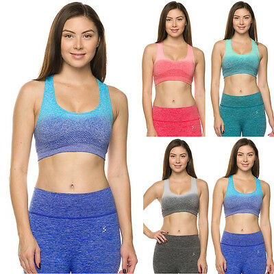 Women Premium Seamless Activewear Ombre Padded Yoga Workout Sports Padded Bra