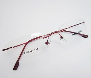 Purple Memory Hingeless Rimless Flexible Eyeglass Frame 8 Colors Spectacles Eyewear Rx