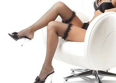 Sexy women's Lingerie Fishnet & Ruffle Top thigh high Stockings Hosiery & Socks