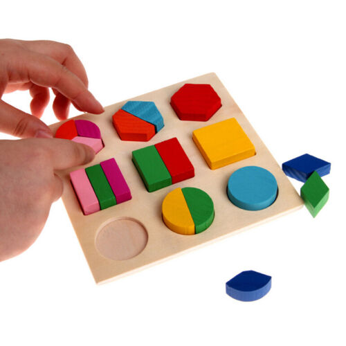 3D Wooden Puzzle Shape Jigsaw Educational Learning Toys Kids Colorful Buildings