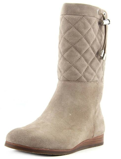 2b4632ce756 Michael Kors Lizzie Quilted Mid Calf Suede Boots Boot Dark Dune 11 New  295