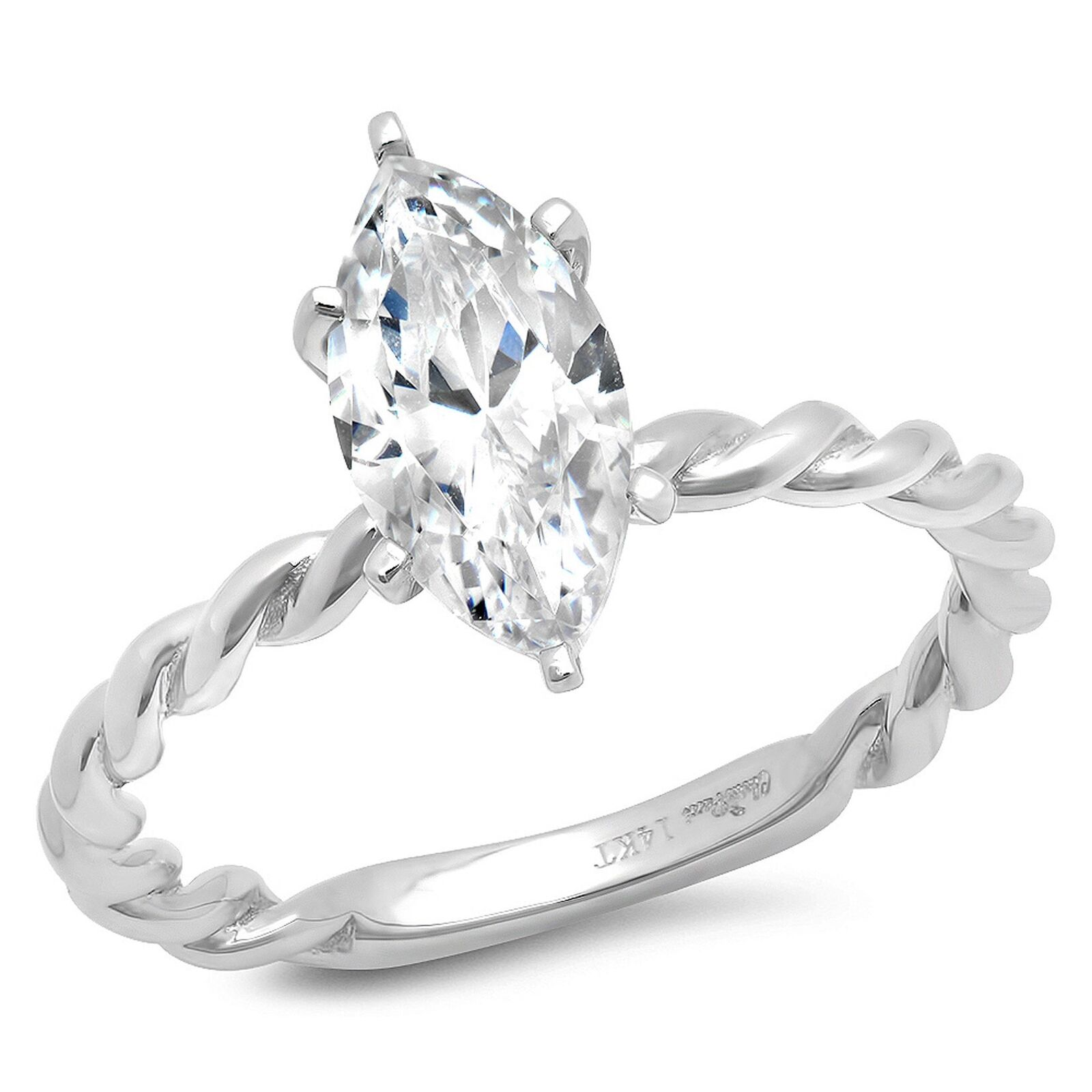 2.1ct Marquise Cut Wedding Bridal Engagement Anniversary Ring 14k White gold