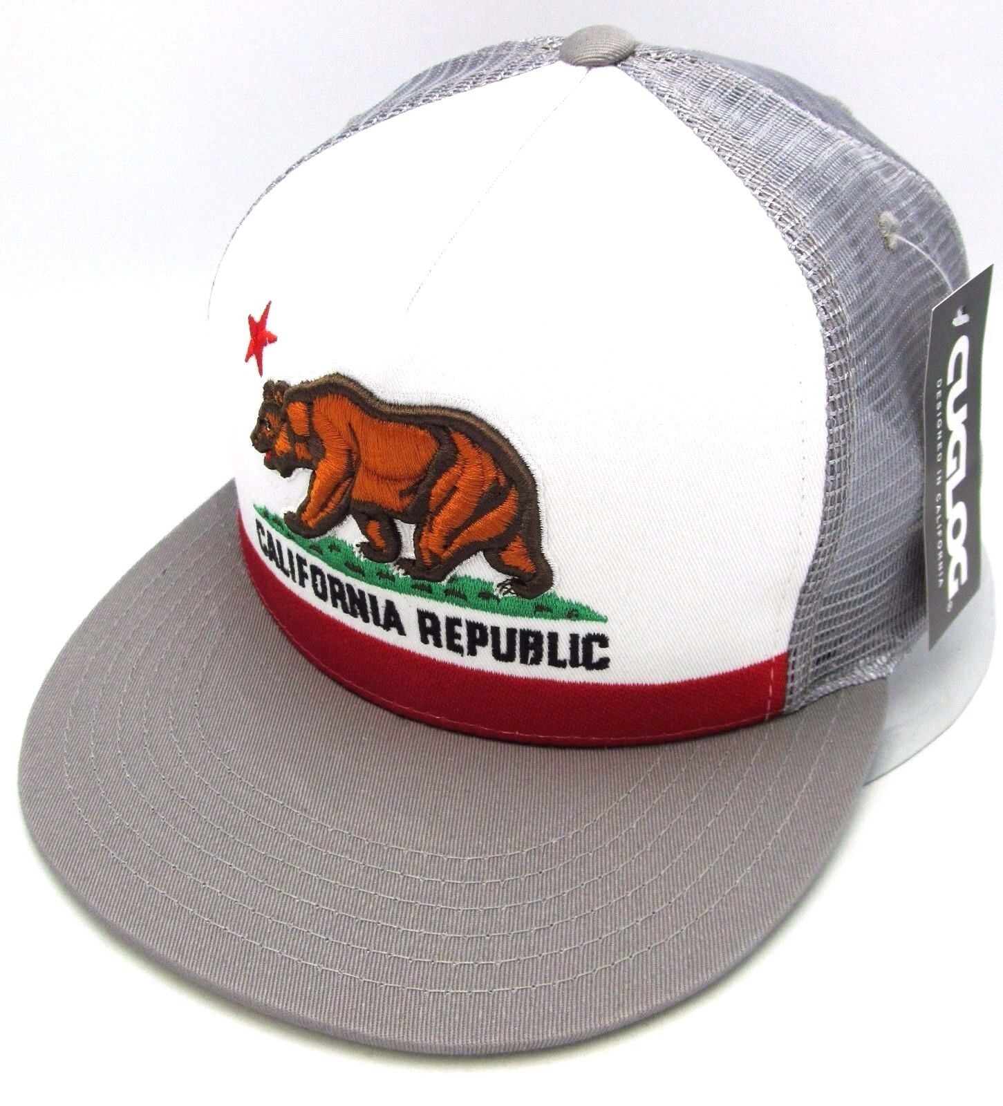 01a8e187793 California Republic Snapback Cap Cali Bear Trucker Mesh Flat Bill Hat OSFM