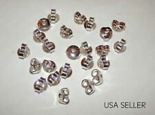 24PC EARRING BACKS ~ 5x5.5MM .925 STERLING SILVER PLATED