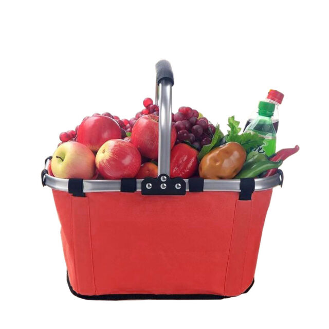 Red Collapsible Fold Picnic Shopping Basket Tote Bag Waterproof Canvas Basket