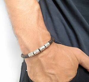 Leather Bracelet Men Cuff braided 6 sterling silver Wristband women ... baef2eb648