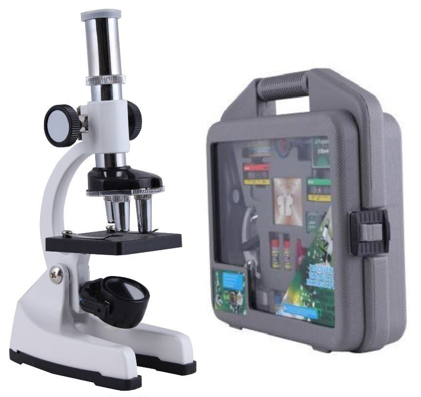 30 Piece 100-1200x Discovery Biological Microscope Science Education Set Kit Cas
