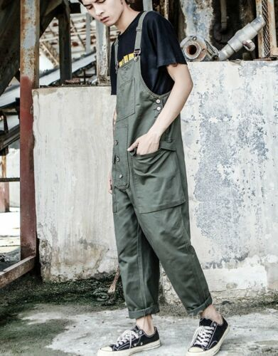 Hommes hip-hop Poches Lâche Désinvolte Vêtement de porte-jarretelles Pantalon Bib Pantalon Combinaison