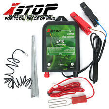 X-STOP Electric Fence Energiser 20km 0.6J 12V Battery Leads Earth BA100 +Stake