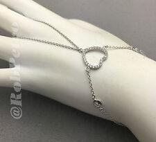 """Sterling Silver CZ Heart Finger/Hand Ring Chain Slave Bracelet - 6 1/2-7 1/2"""""""