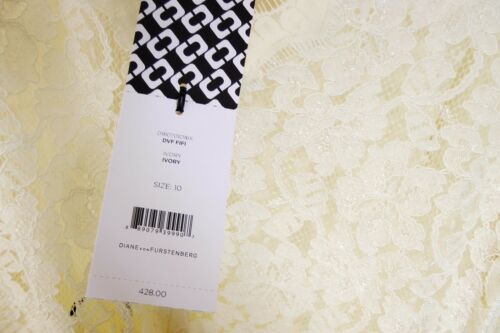 $428 NWT Diane Von Furstenberg DVF Fifi Lace Fit And Flare Dress sz10 Ivory