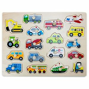 Professor-Poplar-039-s-Jumbo-People-Movers-Car-Truck-Vehicles-Wooden-Peg-Puzzle