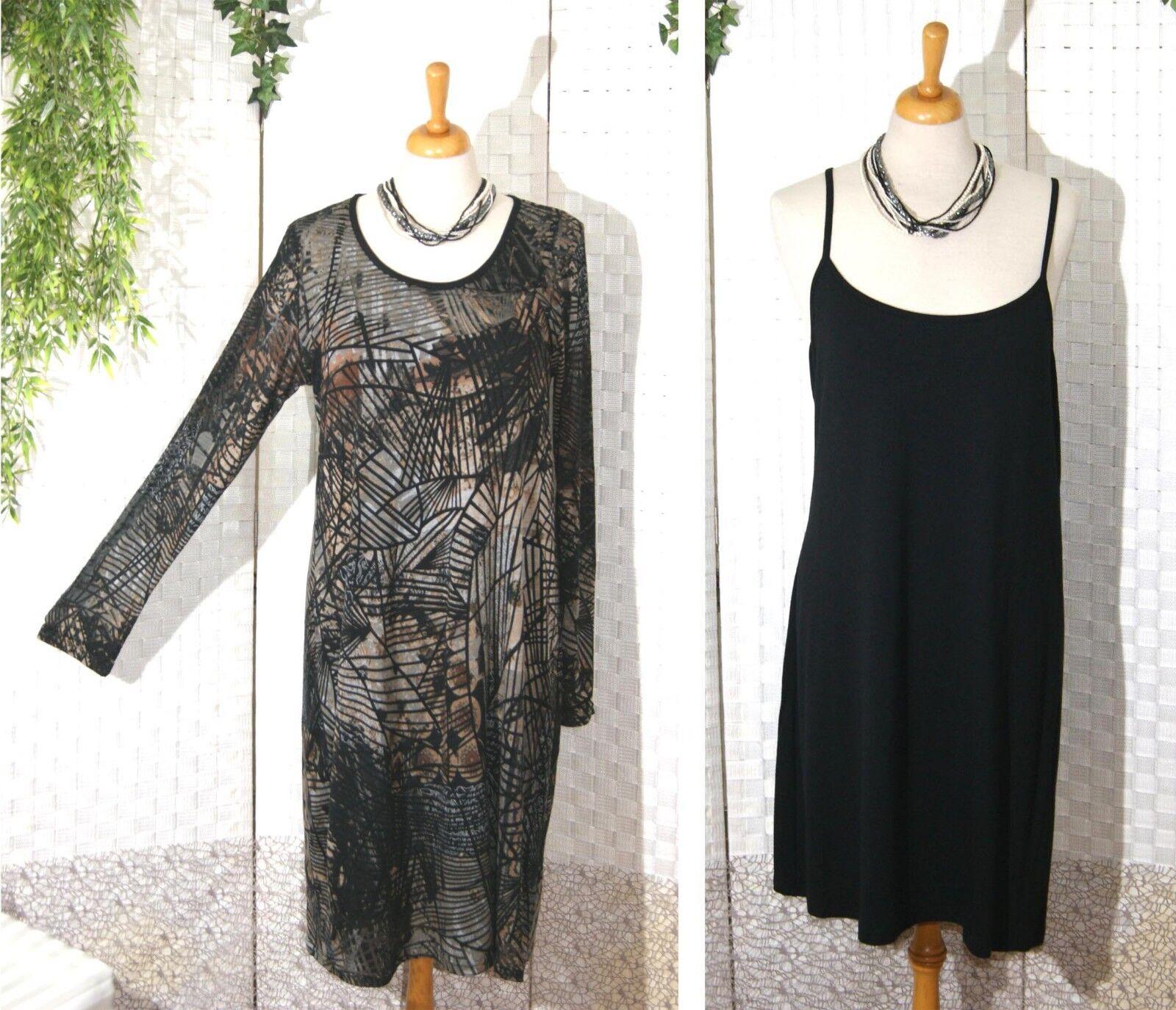 OPHILIA Kleid braun + OPHILIA Lang Top schwarz Gr. 1 38 40 42 Ausbrenner 2 Teile