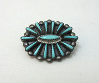 STERLING SILVER SOUTHWESTERN STYLE PETIT POINT TURQUOISE PENDANT BROOCH PIN **