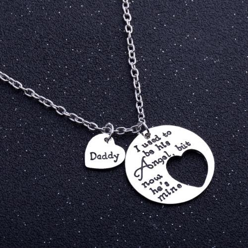 New Angel hija Daddy Papá corazón familia cadena encanto Collar Colgante de regalo de Navidad