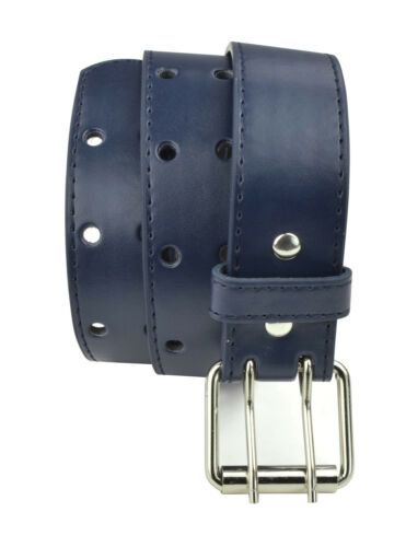 Kids Perforated Faux Leather Two Hole Belt Double Prong Buckle for Boys Girls