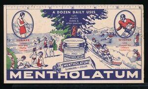 MENTHOLATUM-Original-1920s-Ad-Blotter-Ruler-FOOTBALL-Swimming-TOBAGONNING