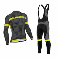 Fdx Mens Classic Cycling Jersey Winter Thermal Bike Top + Cycling Bib Tights Set