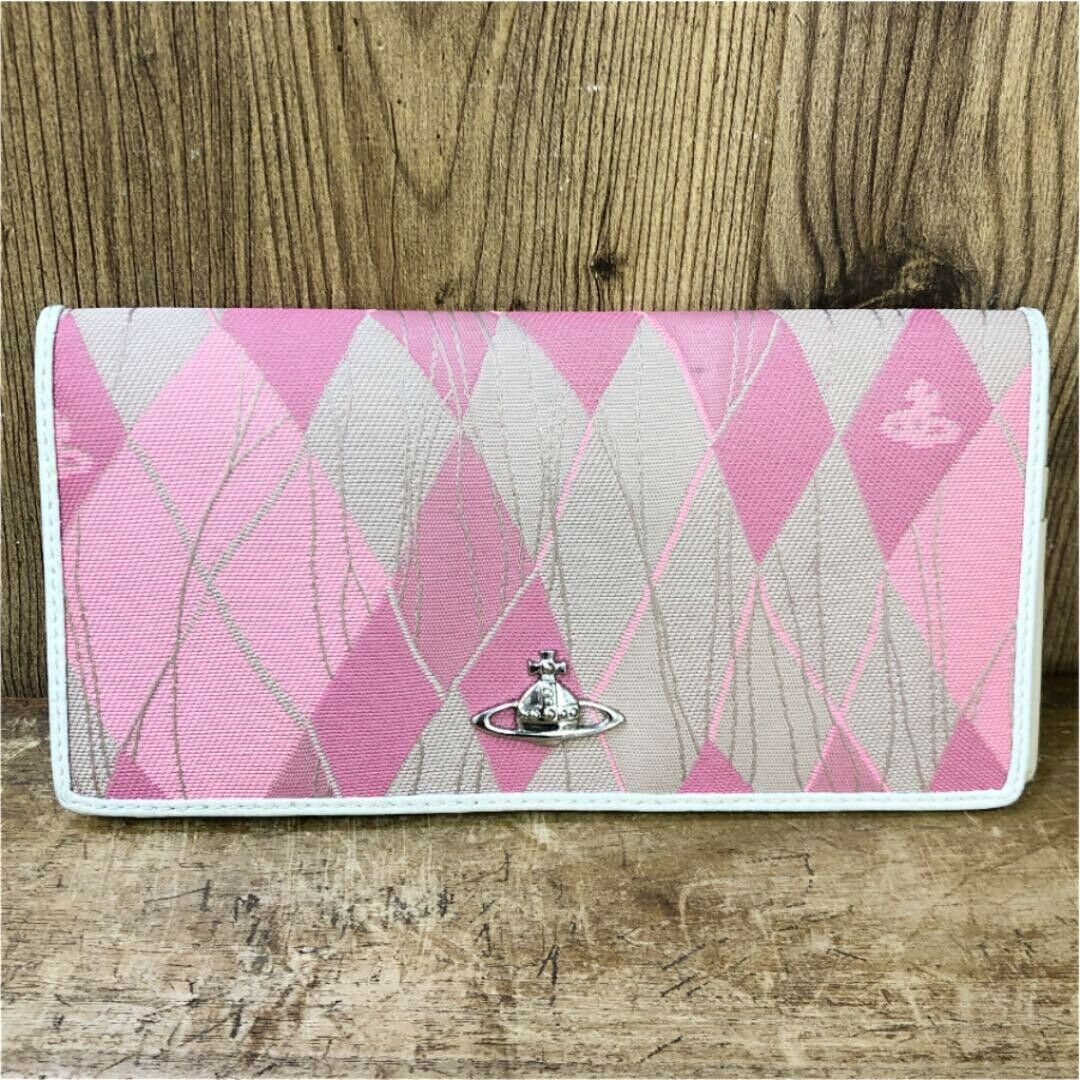 Vivienne Westwood long wallet Pink White Silver Orb Mark 18.8cm Authentic I18275