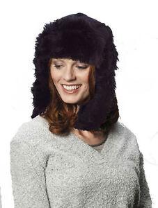 f83e52f57 Details about Men Ladies Snow Hat Warm Winter Trapper Black Fur Trim  Russian Ushanka New 56-57