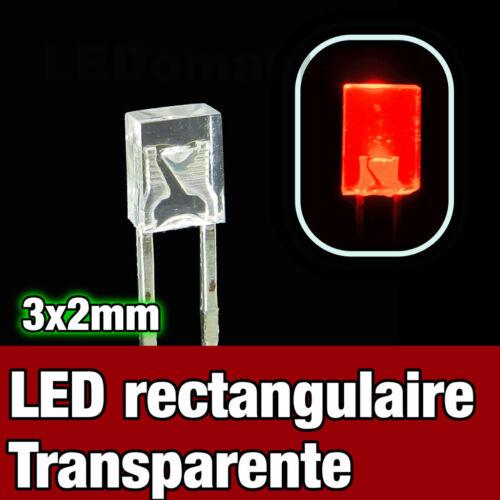 Rectangular LED red 325R//25# LED rectangulaire 3x2 rouge 25pcs